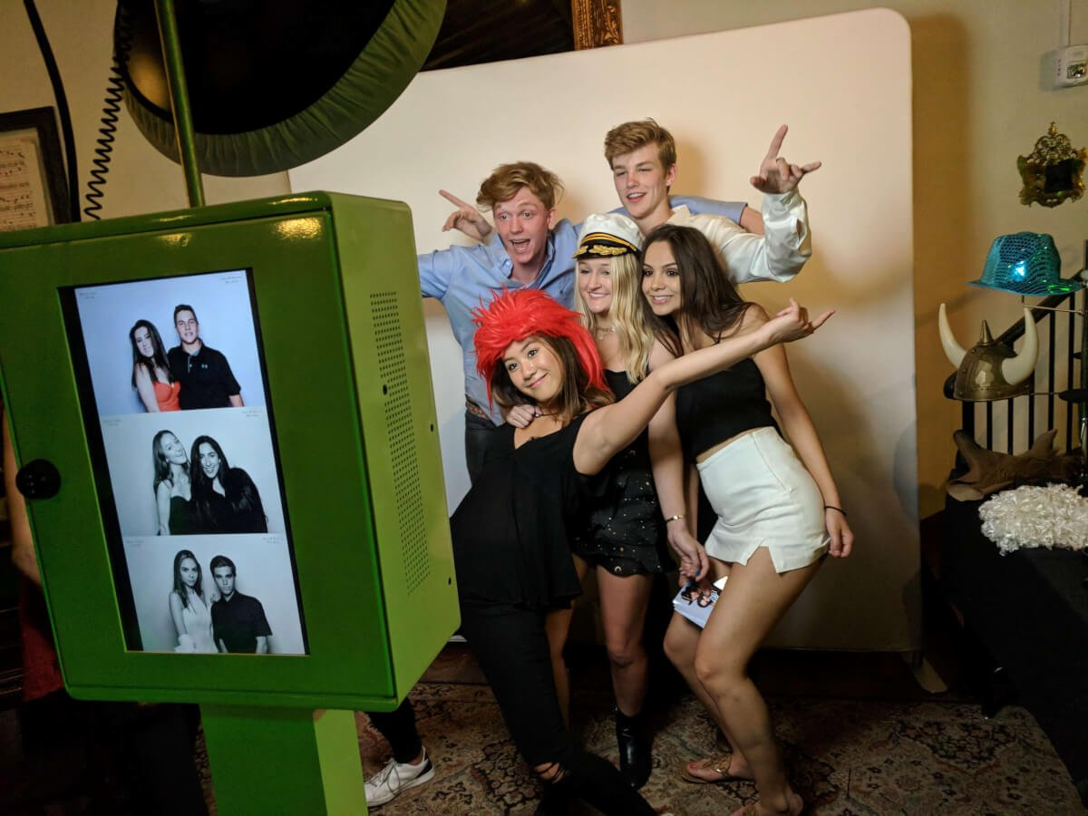 Photo Booth setup with people posing